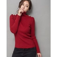 GUMZZI - Turtleneck Rib-Knit Top