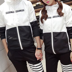 Evzen - Couple Matching Hooded Color Panel Windbreaker