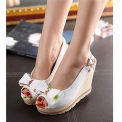 Freesia - Bow Slingback Wedge Sandals