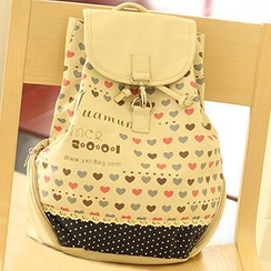 Canvas Love - Heart Print Backpack