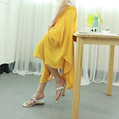 Dodostyle - Band-Waist Asymmetric-Hem Chiffon Long Skirt