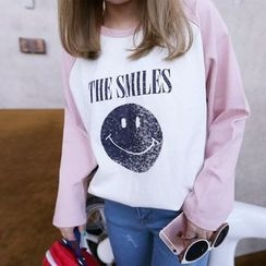 YUKISHU - Smiley Face Print Long Sleeve T-Shirt
