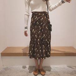 Tiny Times - Ruffle Floral Midi Skirt