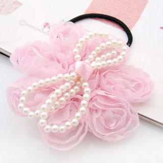 Fit-to-Kill - Multifunctional chiffon pearl bow hair band + hair pin + brooch -pink