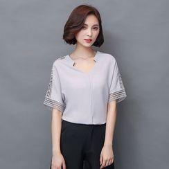 EFO - Cutout Sleeve V-Neck Top