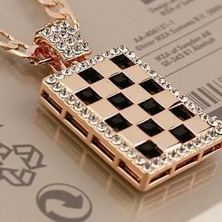 Love Generation - Rhinestone Check Chain Necklace