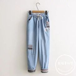 PANDAGO - Patchwork Drawstring Washed Jeans