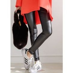 J-ANN - Faux-Fur Lined Faux-Leather Leggings