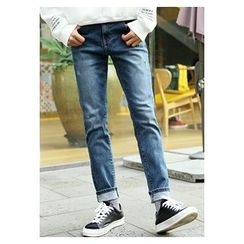 HOTBOOM - Washed Straight-Cut Jeans