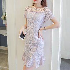 Fashion Street - Boat Neck Short-Sleeve Lace Dress