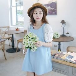 Tokyo Fashion - Short-Sleeve Lace Panel Color Block Top