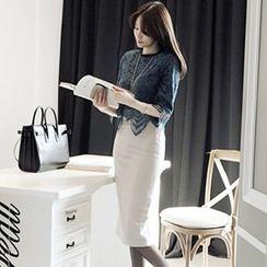 Sherbo - Set: 3/4-Sleeve Lace Top + Plain Pencil-Cut Skirt