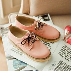 缤纷女鞋 - 配色鞋带牛津鞋