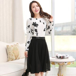 AiSun - Set: Floral Embroidered Long Sleeve Top + Chiffon A-Line Skirt