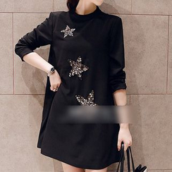 Kasan - Maternity Star Sequined Long Sleeve Mini Dress