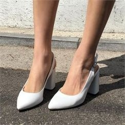 QNIGIRLS - Chunky-Heel Sling-Back Pumps