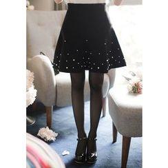 MyFiona - Faux-Pearl Beaded Flared Mini Skirt