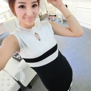 Ando Store - Sleeveless Striped Knit Dress