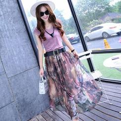 lilygirl - Set: Cap Sleeve V-Neck T-Shirt + Print Maxi Chiffon Skirt