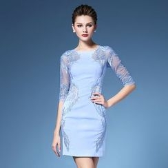 Elabo - Embroidered Elbow Sleeve Sheath Dress