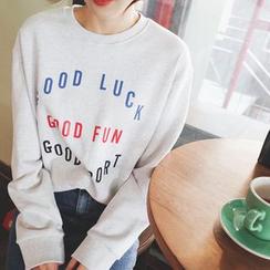mimi&didi - Crew-Neck Lettering Sweatshirt