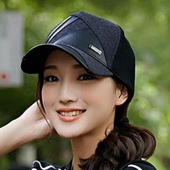Thantrue - Faux-Leather Panel Baseball Hat