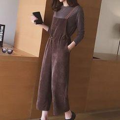Ashlee - 套装: 纯色长袖上衣 + 灯芯绒背带牛仔裤