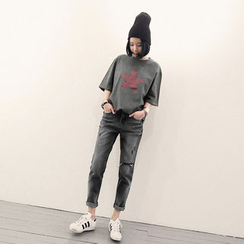 NANING9 - Distressed Black Jeans