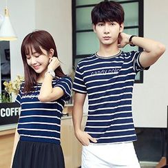 Azure - Couple Matching Striped Short Sleeve T-Shirt / Midi Chiffon Dress