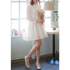 MyFiona - High-Waist Buttoned Lace Mini Dress
