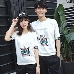尚雅姿 - 情侶款貼布繡短袖T恤