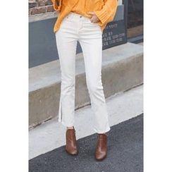 migunstyle - Slit-Side Boot-Cut Pants