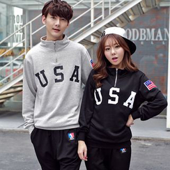 Bonne Nuit - Couple Matching Letter Zip Up Sweatshirt