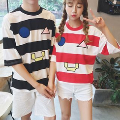 Evolu Fashion - Striped Short Sleeve Couple Matching T-Shirt