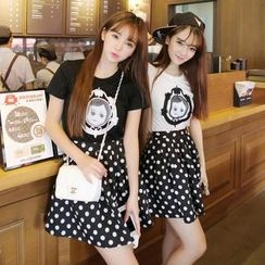 LULUS - Set: Short-Sleeve Appliqué T-Shirt + Polka Dot Skirt