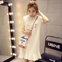 Shimi - 荷葉擺刺繡短袖T恤裙