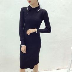 Octavia - Long-Sleeve Knit Sheath Dress