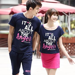 Igsoo - Couple Matching Set: Print Short-Sleeve T-Shirt + Shorts / Mini Skirt