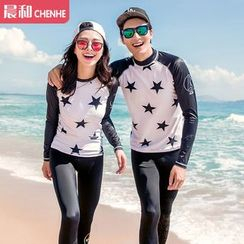 Morning Dew - Couple Matching Star Raglan Rashguard / Shorts