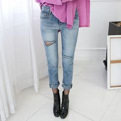 DABAGIRL - Distressed Washed Tapered Jeans