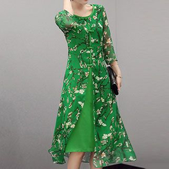 Romantica - Mandarin-Button Floral Chiffon Dress