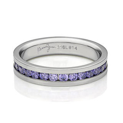 Kenny & co. - Full Purple Crystals Steel Ring
