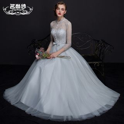 MSSBridal - 3/4 Sleeve Lace Trim Evening Gown