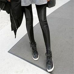 PIPPIN - Faux-Leather Trim Fleece-Lined Leggings