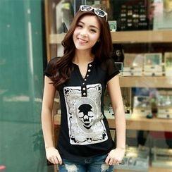 Zosia - 骷髏頭V領短袖T恤