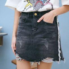 MOJIN - 做舊牛仔短裙