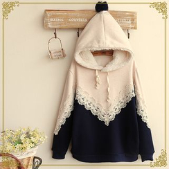Fairyland - Two-Tone Lace Trim Melange Hoodie