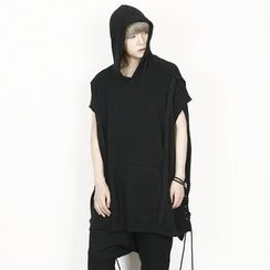 Rememberclick - Rope-Detailed Sleeveless Hoodie T-Shirt