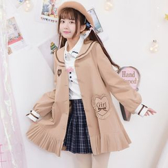 Moriville - Letter Embroidered Sailor Collar Long Coat