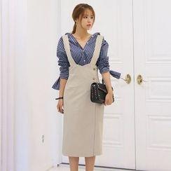 DABAGIRL - Suspender High-Waist Wrap Dress